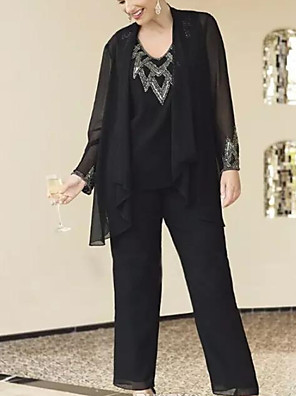 cheap Evening Dresses-Pantsuit / Jumpsuit Mother of the Bride Dress Elegant V Neck Floor Length Chiffon Polyester Long Sleeve with Sequin 2020