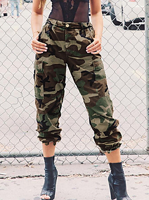 cheap Mini Dresses-Women's Basic Chinos Pants - Solid Colored Army Green S M L