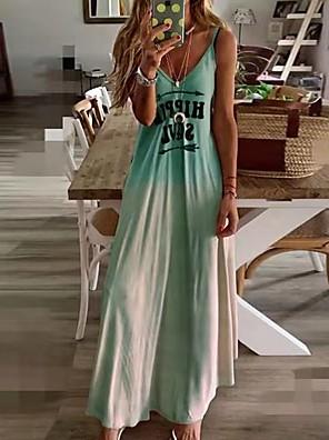 cheap Summer Dresses-Women's Plus Size Maxi Swing Dress - Sleeveless Color Block Strap Slim Blue Blushing Pink Green Gray S M L XL XXL XXXL XXXXL XXXXXL