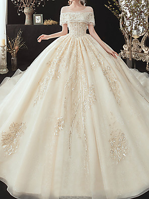 cheap Wedding Dresses-Ball Gown Wedding Dresses Off Shoulder Watteau Train Lace Tulle Sequined Short Sleeve Formal Wedding Dress in Color Plus Size with Lace Pearls Lace Insert 2020