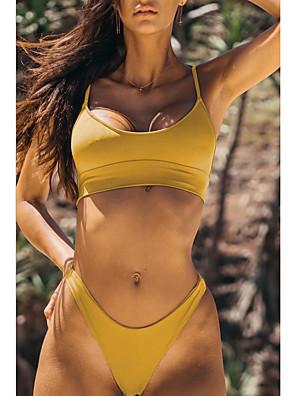 cheap Bikinis-Women's Bikini Swimsuit Solid Colored Swimwear Bathing Suits Blue Yellow Blushing Pink Gray