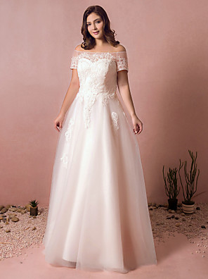 cheap Prom Dresses-A-Line Wedding Dresses Off Shoulder Floor Length Lace Satin Tulle Short Sleeve Formal Plus Size with Lace Pearls Lace Insert 2020