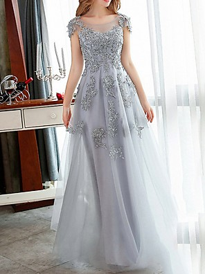 cheap Bridesmaid Dresses-A-Line Red Grey Engagement Formal Evening Dress Jewel Neck Short Sleeve Floor Length Tulle with Appliques 2020