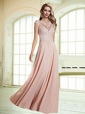 cheap Bridesmaid Dresses-A-Line Empire Pink Wedding Guest Formal Evening Dress Jewel Neck Sleeveless Floor Length Chiffon Lace with Appliques 2020
