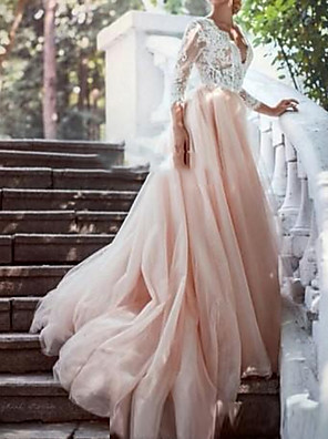 cheap Evening Dresses-A-Line Wedding Dresses Plunging Neck Sweep / Brush Train Polyester 3/4 Length Sleeve Country Plus Size with Lace Insert Appliques 2020