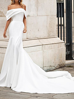cheap Prom Dresses-Mermaid / Trumpet Wedding Dresses Off Shoulder Court Train Satin Short Sleeve Country Plus Size with Draping 2020