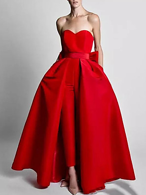 cheap Prom Dresses-Two Piece Jumpsuits Elegant Wedding Guest Formal Evening Dress Sweetheart Neckline Sleeveless Floor Length Polyester with Bow(s) Overskirt 2020