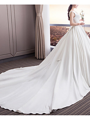 cheap Wedding Dresses-A-Line Wedding Dresses Square Neck Sweep / Brush Train Satin Sleeveless Beach with Draping 2020