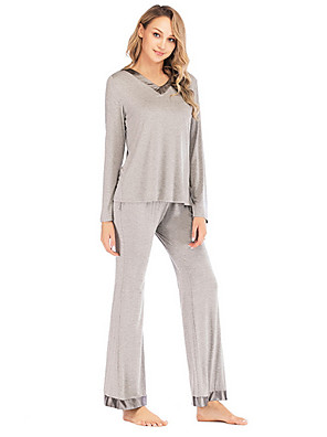 cheap Evening Dresses-Women's Suits Nightwear Black Gray S L XL