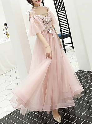 cheap Prom Dresses-A-Line Floral Pink Prom Formal Evening Dress V Neck Short Sleeve Floor Length Tulle with Appliques 2020