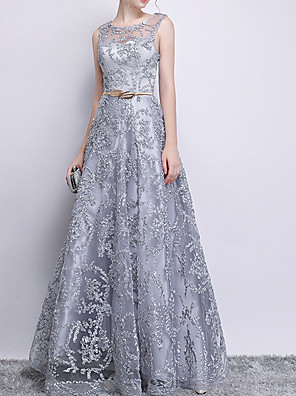 cheap Prom Dresses-A-Line Glittering Grey Prom Formal Evening Dress Jewel Neck Sleeveless Floor Length Polyester with Sequin Appliques 2020