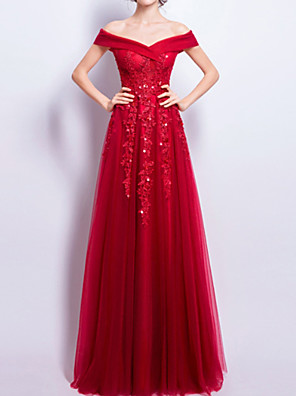 cheap Prom Dresses-A-Line Hot Red Prom Formal Evening Dress Off Shoulder Short Sleeve Floor Length Lace with Beading Appliques 2020