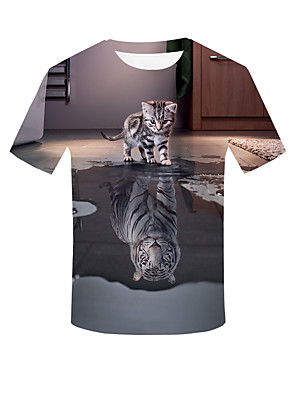 cheap Evening Dresses-Men's Plus Size 3D Graphic T-shirt Basic Street chic Daily Going out Round Neck Khaki / Short Sleeve / Animal