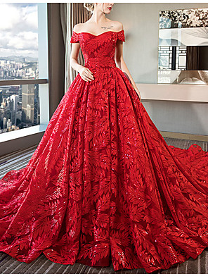 cheap Wedding Dresses-Ball Gown Off Shoulder Watteau Train Lace / Tulle / Sequined Short Sleeve Formal / Romantic / Sexy Plus Size / Red Wedding Dresses with Lace 2020