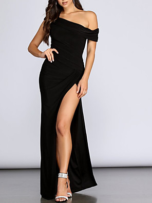 cheap Evening Dresses-Sheath / Column Sexy Black Party Wear Prom Dress One Shoulder Sleeveless Floor Length Spandex with Pleats Split 2020