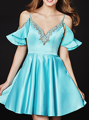 cheap Cocktail Dresses-A-Line Sexy Turquoise / Teal Homecoming Cocktail Party Dress V Neck Sleeveless Short / Mini Satin with Pleats Crystals 2020