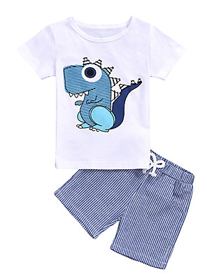 cheap Boys' Clothing Sets-Kids Toddler Boys' Active Basic Daily Wear Vacation Dinosaur Striped Short Sleeve Regular Clothing Set White