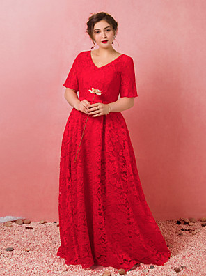 cheap Plus Size Dresses-A-Line Plus Size Red Engagement Formal Evening Dress V Neck Short Sleeve Floor Length Lace Satin Tulle with Bow(s) Pleats 2020