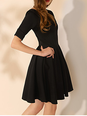 cheap Wedding Dresses-A-Line Little Black Dress Black Homecoming Cocktail Party Dress V Neck Half Sleeve Short / Mini Spandex with Pleats 2020
