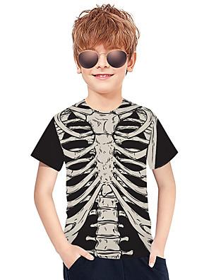 cheap Boys' Tops-Kids Boys' Active Punk & Gothic Color Block 3D Plaid Short Sleeve Tee Black