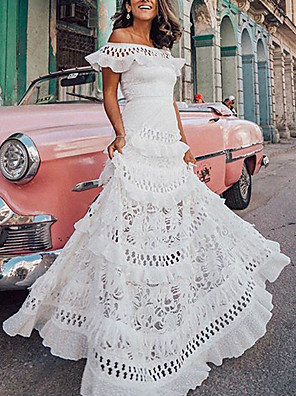 cheap Prom Dresses-Women's Maxi A Line Dress - Short Sleeves Solid Color Lace Ruffle Spring & Summer Off Shoulder Holiday Vacation Beach White S M L XL