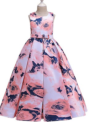 cheap Junior Bridesmaid Dresses-A-Line Round Floor Length Cotton Junior Bridesmaid Dress with Bow(s) / Pattern / Print / Ruching