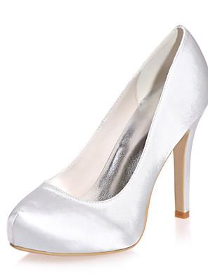 cheap Evening Dresses-Women's Wedding Shoes Stiletto Heel Round Toe Satin Minimalism Fall / Spring & Summer Black / White / Purple / Party & Evening