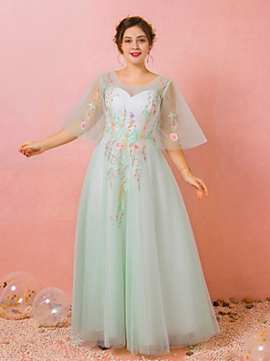 cheap Prom Dresses-A-Line Floral Plus Size Prom Formal Evening Dress Jewel Neck Half Sleeve Floor Length Lace Satin Tulle with Pleats Embroidery 2020 / Illusion Sleeve