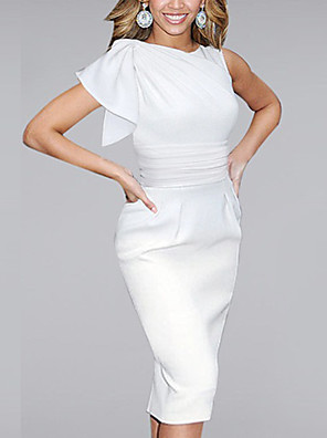 cheap Party Dresses-Women's Shift Dress - Sleeveless Solid Colored Ruffle Elegant Sophisticated Event / Party Office White Black Blue Red S M L XL XXL XXXL