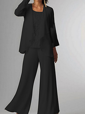 cheap Mother of the Bride Dresses-Pantsuit / Jumpsuit Mother of the Bride Dress Elegant Jewel Neck Floor Length Chiffon 3/4 Length Sleeve with Ruching 2020