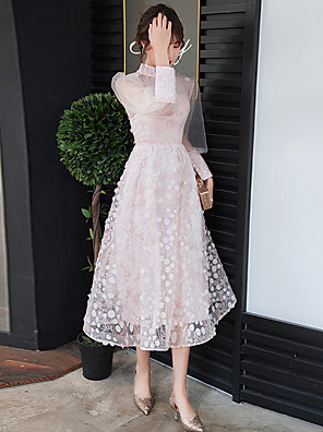cheap Cocktail Dresses-A-Line Flirty Pink Graduation Prom Dress High Neck Long Sleeve Tea Length Lace Tulle with Pleats Appliques 2020 / Illusion Sleeve
