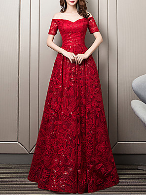 cheap Evening Dresses-A-Line Floral Wedding Guest Formal Evening Dress Sweetheart Neckline Short Sleeve Floor Length Lace with Sequin Embroidery 2020