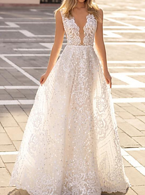 cheap Prom Dresses-A-Line Wedding Dresses Plunging Neck Sweep / Brush Train Polyester Sleeveless Country Plus Size with Lace Insert Appliques 2020