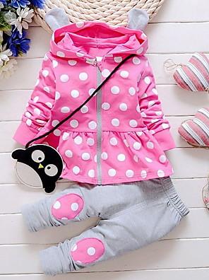 povoljno Kompletići za bebe-Dijete Djevojčice Ulični šik Na točkice Dugih rukava Regularna Komplet odjeće purpurna boja / Dijete koje je tek prohodalo