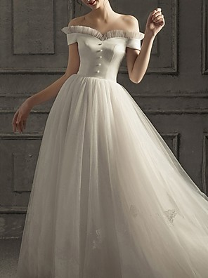 cheap Prom Dresses-A-Line Wedding Dresses Off Shoulder Floor Length Lace Short Sleeve Beach with Buttons 2020