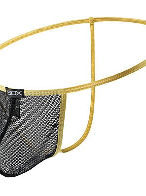 cheap Men's Exotic Underwear-Men's Cut Out / Mesh G-string Underwear - Normal Low Waist Black Purple Yellow M L XL