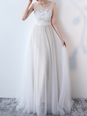 cheap Wedding Dresses-A-Line Wedding Dresses Jewel Neck Sweep / Brush Train Lace Sleeveless Beach Boho with Lace Insert Appliques 2020