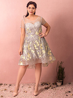 cheap Plus Size Dresses-A-Line Plus Size Grey Homecoming Cocktail Party Dress Illusion Neck Short Sleeve Asymmetrical Knee Length Lace Satin Tulle with Appliques 2020