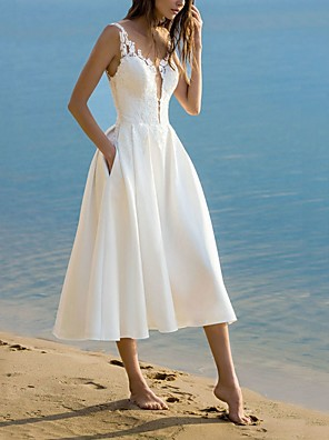 cheap Wedding Dresses-A-Line V Neck Tea Length Lace Sleeveless Formal Little White Dress Wedding Dresses with Appliques 2020