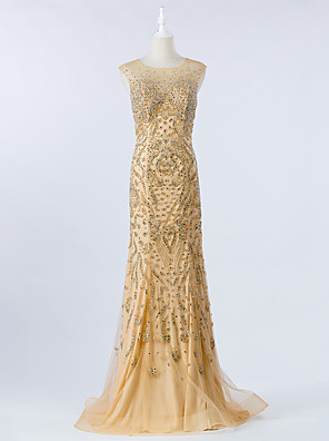 cheap Wedding Dresses-Mermaid / Trumpet Luxurious Gold Engagement Formal Evening Dress Illusion Neck Sleeveless Sweep / Brush Train Tulle with Crystals Beading Sequin 2020