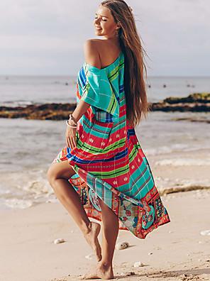 cheap Bikinis-Women's Basic Boho Blue Cover-Up Swimwear Swimsuit - Striped One-Size Blue
