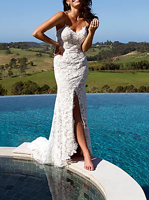 cheap Wedding Dresses-Sheath / Column Wedding Dresses V Neck Floor Length Lace Polyester Sleeveless Casual Beach Plus Size with Appliques Split Front 2020