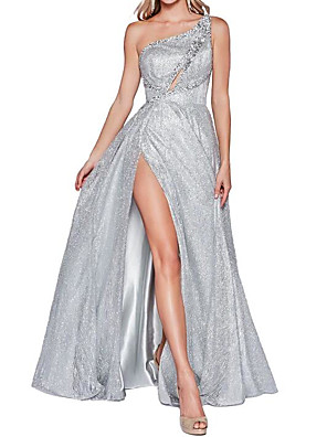 cheap Special Occasion Dresses-A-Line Sparkle Engagement Prom Dress One Shoulder Sleeveless Floor Length Polyester with Crystals Split 2020