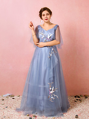 cheap Prom Dresses-A-Line Chinese Style Blue Prom Formal Evening Dress V Neck Half Sleeve Floor Length Lace Satin Tulle with Ruched Embroidery 2020