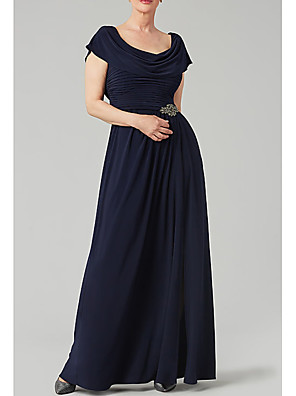 cheap Evening Dresses-A-Line Mother of the Bride Dress Elegant Cowl Neck Floor Length Chiffon Polyester Short Sleeve with Crystals Beading 2020