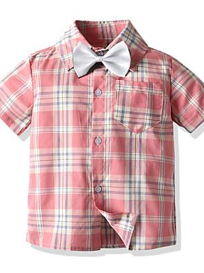 cheap Boys' Tops-Kids Boys' Basic Plaid Short Sleeve Shirt Blushing Pink