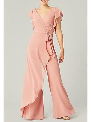 cheap Bridesmaid Dresses-A-Line V Neck Floor Length Polyester Bridesmaid Dress with Ruffles