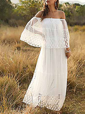 cheap Romantic Lace Dresses-Women's Maxi A Line Dress - 3/4 Length Sleeve Solid Color Ruffle Summer Off Shoulder Holiday Beach White S M L XL / Lace