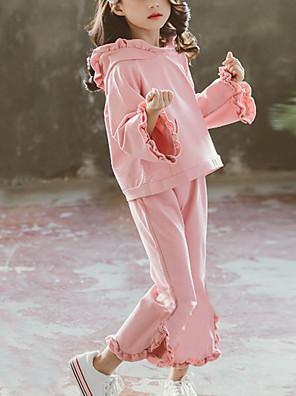 cheap Girls' Dresses-Kids Girls' Street chic Daily Wear Solid Colored Ruffle Long Sleeve Regular Regular Clothing Set Blushing Pink