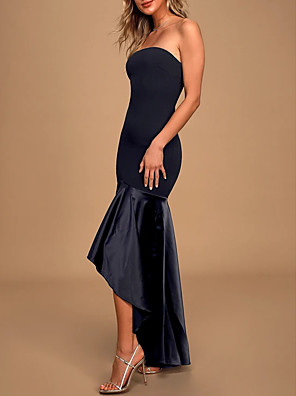 cheap Evening Dresses-Mermaid / Trumpet Sexy Black Cocktail Party Formal Evening Dress Strapless Sleeveless Asymmetrical Charmeuse Polyester with Pleats 2020